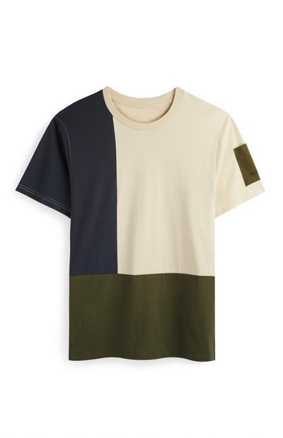 Khaki And Camel Block Print T-Shirt