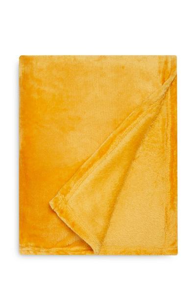 Petit jeté de lit moutarde doux