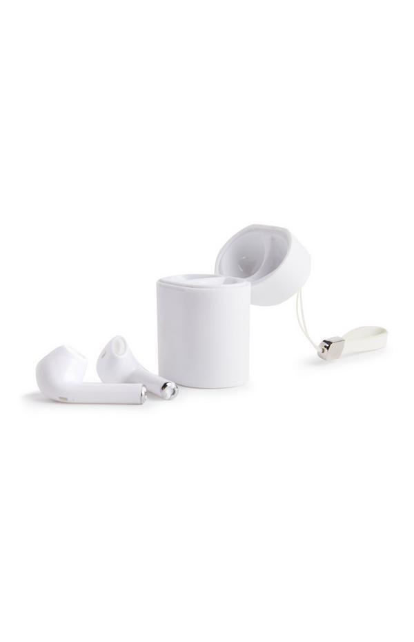 Weiße, kabellose Ohrhörer mit Aufbewahrungsbox