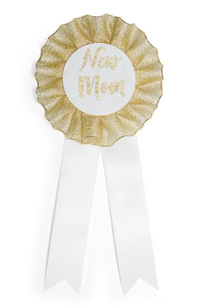 White And Gold New Mom Badge