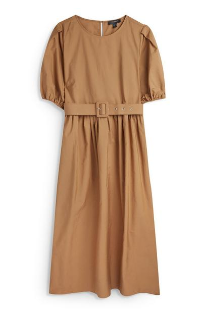 Light Brown Belted Puff Sleeve Midi Dress