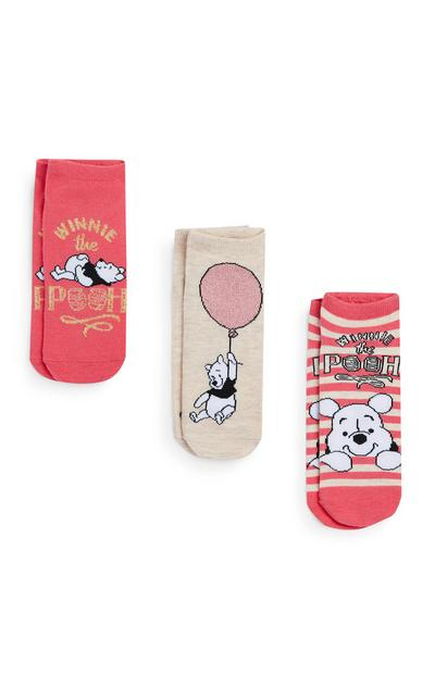 Coral And Cream Winnie The Pooh Socks 3Pk