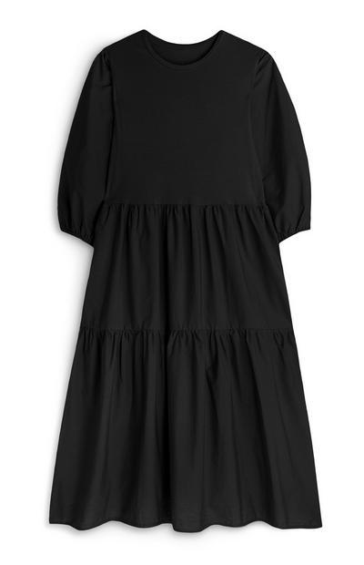 Vestido midi negro de popelina a capas con manga media