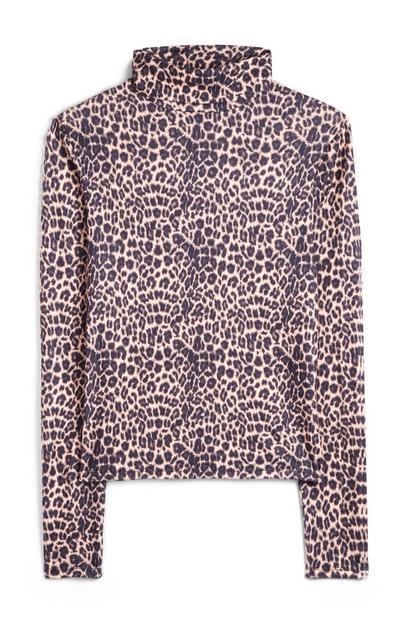Pink Leopard Print Turtle Neck T-Shirt