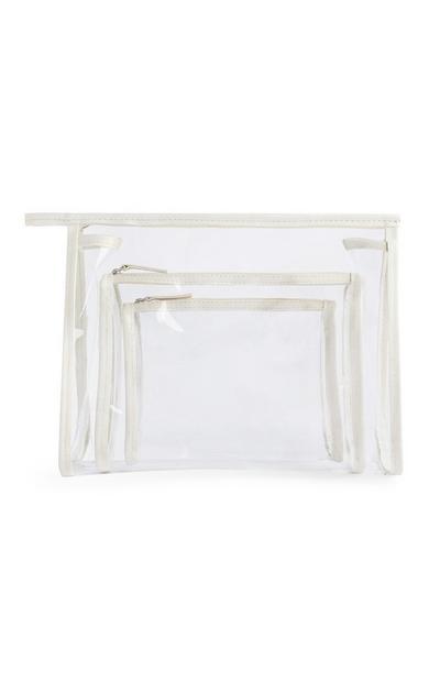 Cream Clear 3-In-1 Makeup Bag