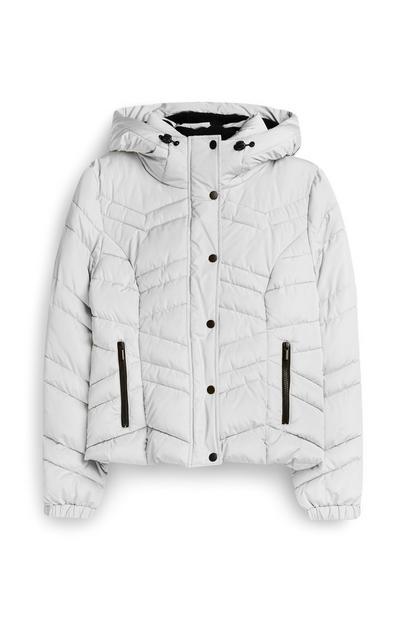 Cazadora acolchada blanca con capucha