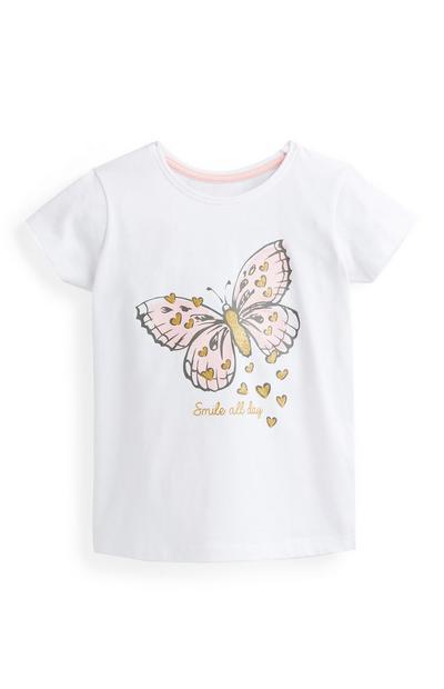 Weißes Top mit Schmetterlings-Print (kleine Mädchen)