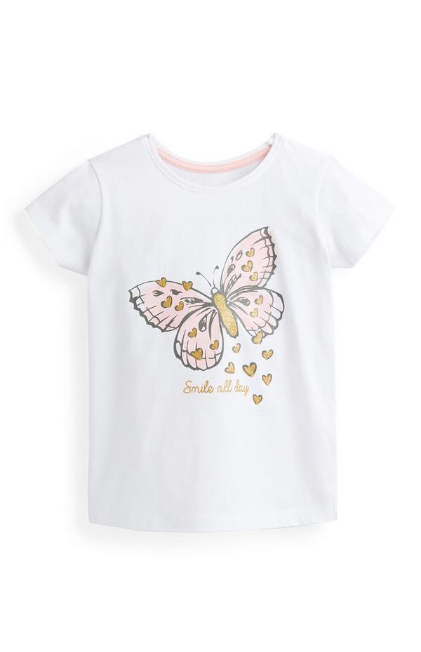 Bela majica s potiskom metulja za mlajša dekleta