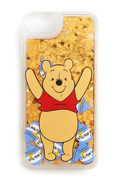 Étui de téléphone jaune pailleté Winnie l'ourson