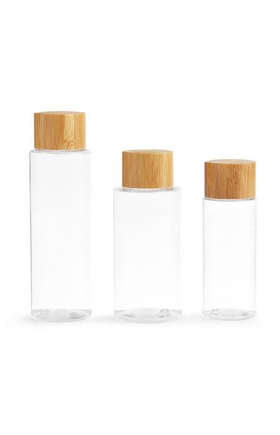 3-Pack Bamboo Lid Clear Travel Bottles
