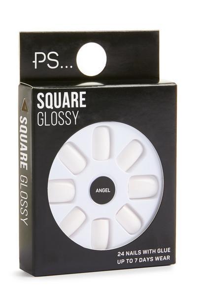 Faux ongles autocollants carrés blanc brillant
