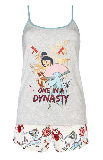 Conjunto pijama top alças e calções Mulan Disney cinzento
