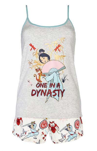 Caraco et short de pyjama gris Disney Mulan