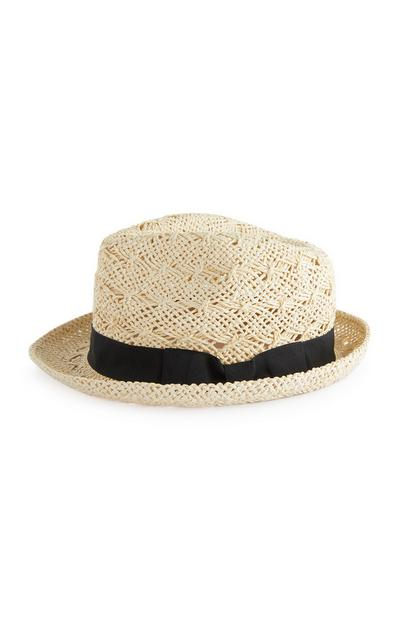 Natural Open Weave Trilby Hat