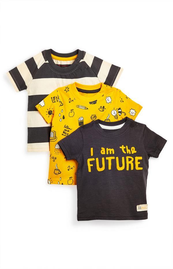 Pack 3 t-shirts I am the Future menino bebé preto/amarelo