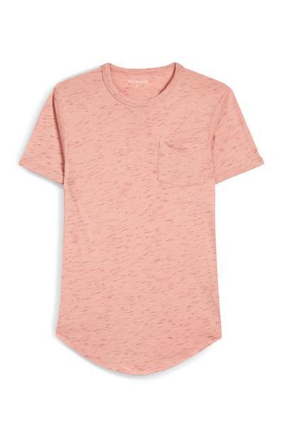 Salmon Pink Speckled Front Pocket Short Sleeve T-Shirt