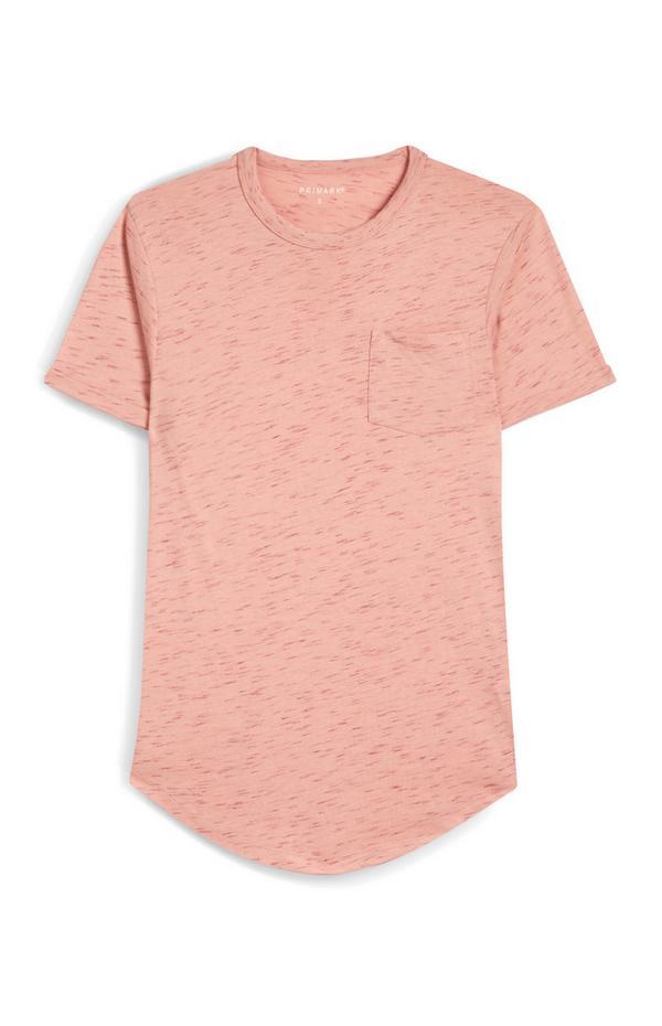 T-shirt rosa salmone puntinata a maniche corte con tasca anteriore