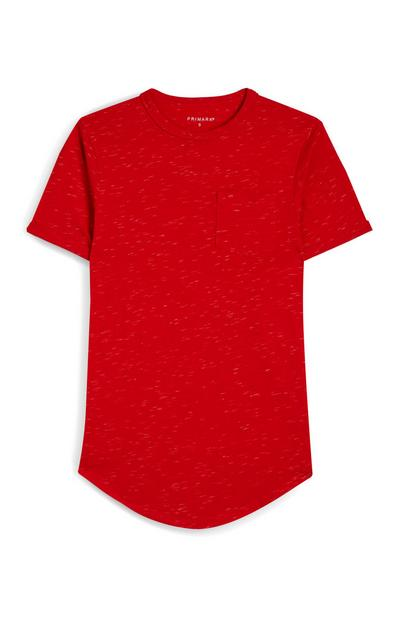 T-shirt rossa puntinata a maniche corte con tasca anteriore