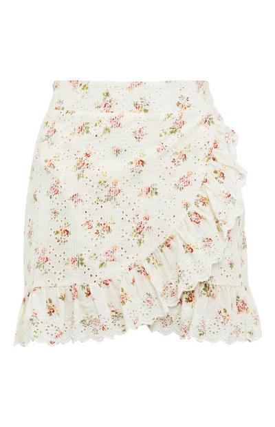 White Floral Printed Broderie Ruffle Mini Skirt