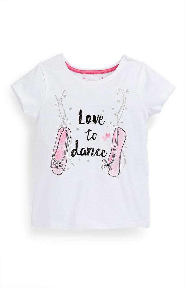 """Weißes """"Dance"""" T-Shirt (kleine Mädchen)"""
