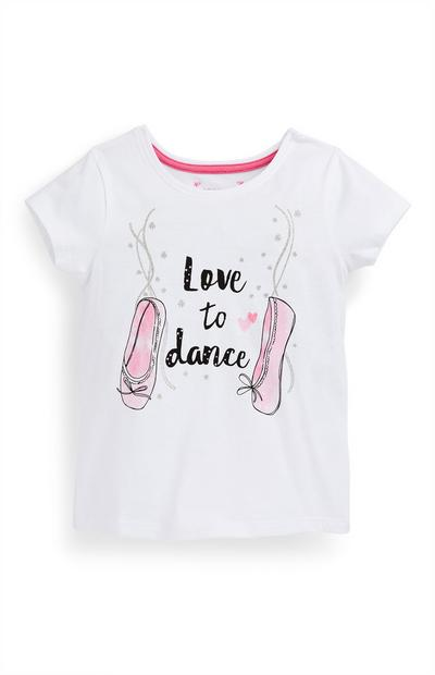 Younger Girl White Dance Slogan T-Shirt