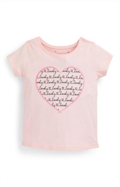 Younger Girl Pink Heart Script Print T-Shirt