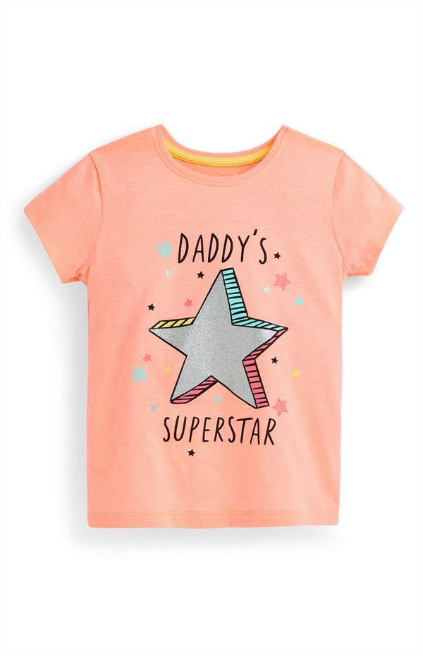 """Pfirsichfarbenes """"Daddy's Superstar"""" T-Shirt (kleine Mädchen)"""