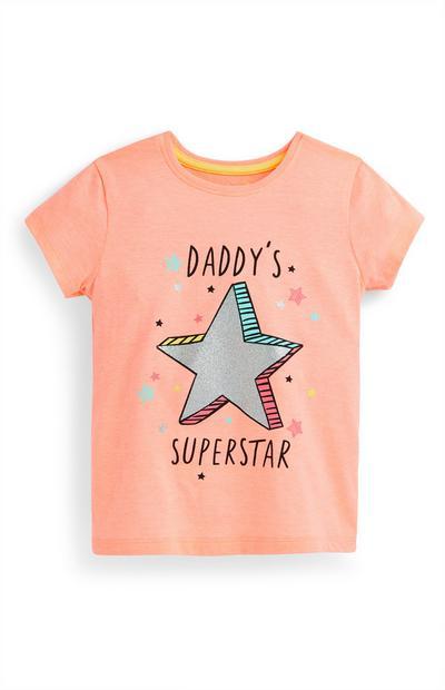 Younger Girl Peach Daddys Superstar T-Shirt