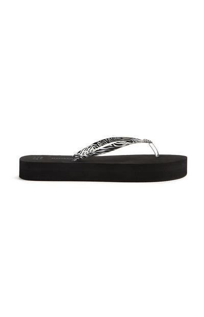 Chinelos dedo plataforma estampado zebra preto