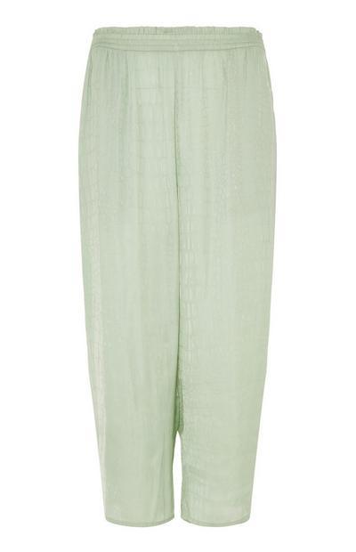Leggings de pijama de raso verde menta