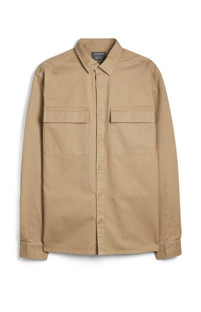 Ecrufarbenes, langärmeliges Hemd