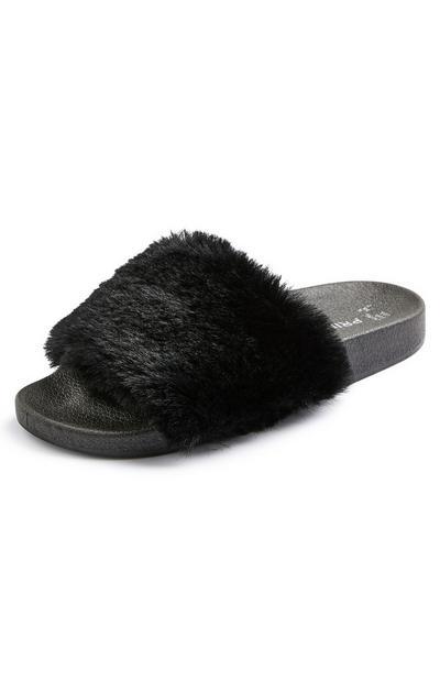 Zwarte slippers met imitatiebont