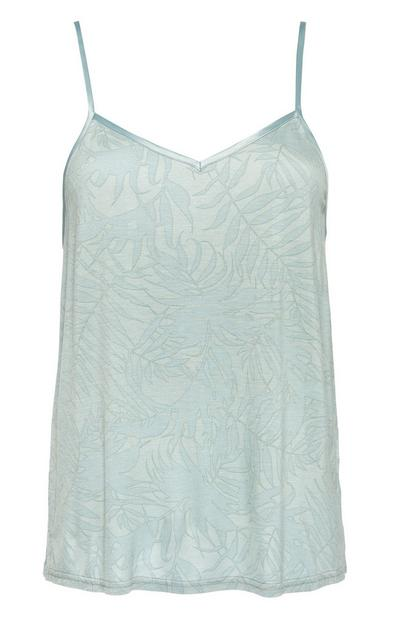 Duck Egg Blue Leaf Print Pyjama Cami