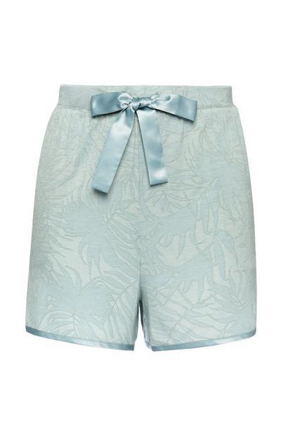 Shorts del pigiama blu opalino con stampa a foglie