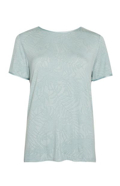 T-shirt de pyjama vert opaline à imprimé feuilles