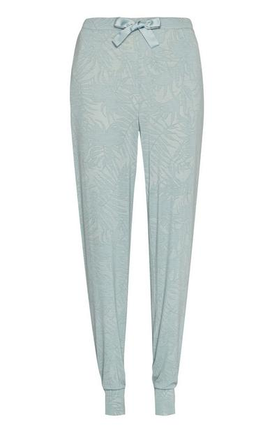 Duck Egg Leaf Print Pyjama Trousers