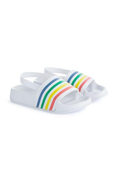Stacey Solomon White Striped Slides
