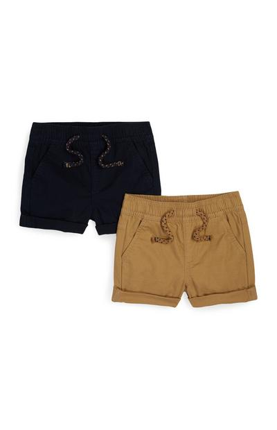 2-Pack Camel And Navy Shorts