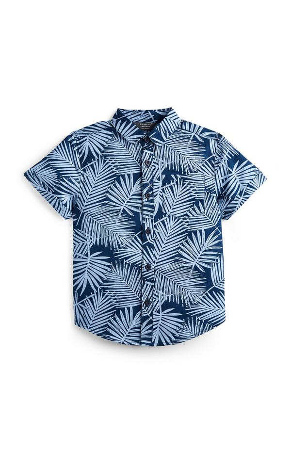 Younger Boy Navy Leaf Print Shirt