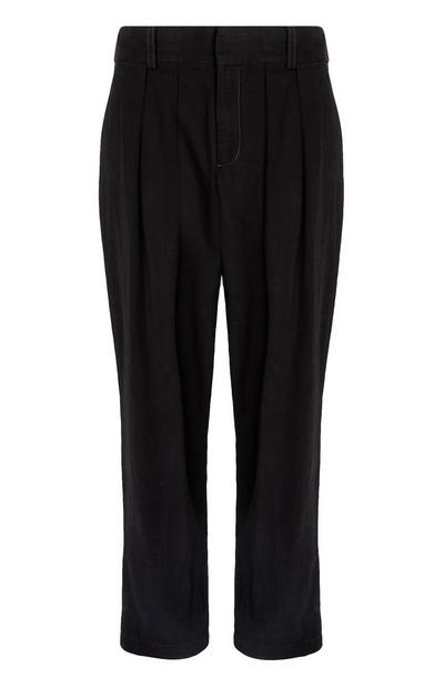 Black Pleat Front Ballon Trousers