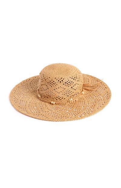 Beaded Floppy Straw Hat