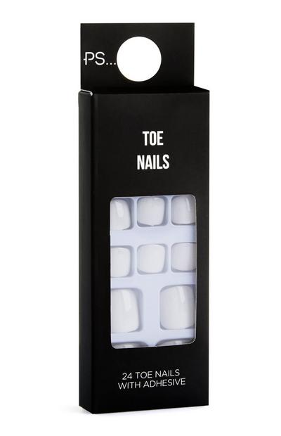 White Stick On Toe Nails