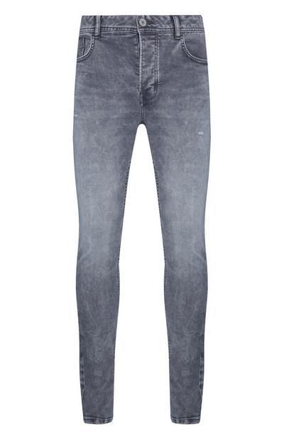 Graue, ausgebleichte Skinny-Jeans