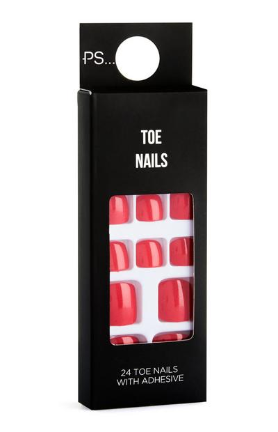 Red Stick On Toe Nails