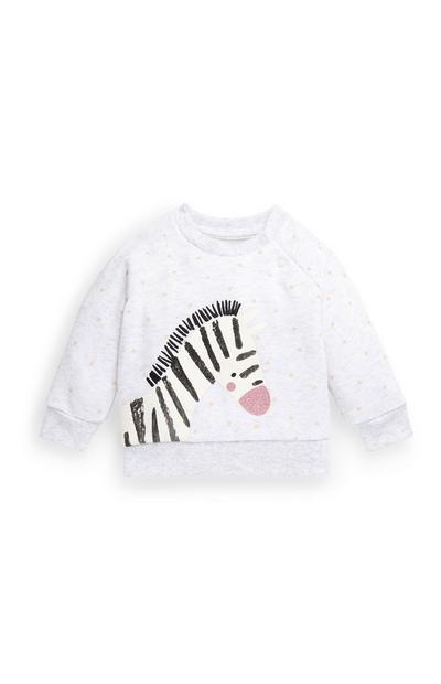 Pull blanc ras du cou motif zèbre bébé fille