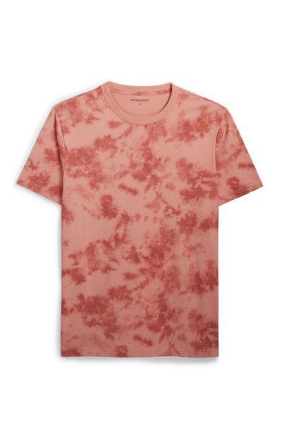 Perzikkleurig tie-dye T-shirt met korte mouwen