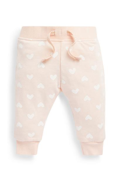 Baby Girls Pink Heart Pattern Joggers