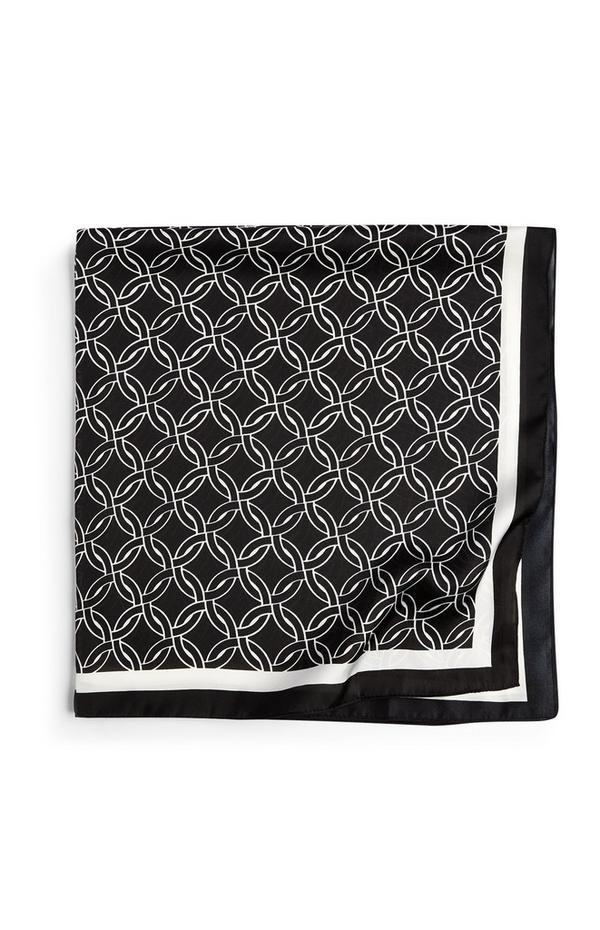 Écharpe en soie noire et blanche