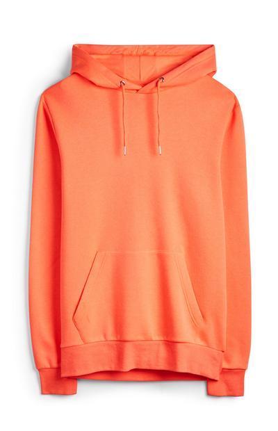 Camisola capuz cor de laranja néon