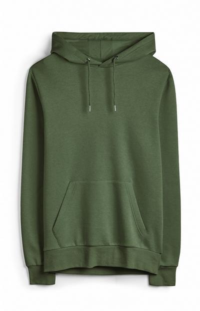Felpa verde con cappuccio basic